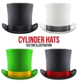 Set of gentleman hat cylinder vector image vector image