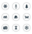 set simple christmas icons vector image vector image