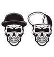 set skulls in baseball caps in monochrome vector image vector image