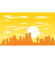 Silhouette of building and sun vector image