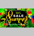 summer sale horizontal banner with parrot and vector image vector image
