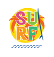 surf icon with surfboard in colorful vector image vector image