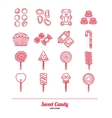 Sweet Candy Flat Icon Set vector image