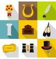 Theatrical performance icons set flat style vector image vector image
