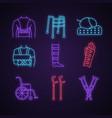 trauma treatment neon light icons set vector image vector image