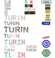 Turin text design set vector image vector image
