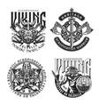 viking vintage prints vector image vector image