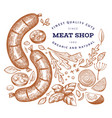 vintage meat hand drawn sausages spices and vector image