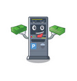 with money bag parking vending machine isolated vector image vector image