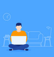 working home man with laptop in lotus pose vector image