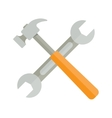 wrench and hammer on white background vector image