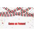 yemen flags garland on transparent background vector image