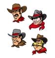 Cartoon cowboys set vector image