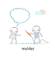welder with welding machine with the client says vector image