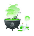 a halloween witch cauldron and bottles with potion vector image
