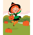 Girl in witch costume celebrates Halloween vector image