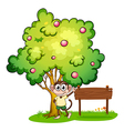 A monkey under the tree beside the empty wooden vector image vector image