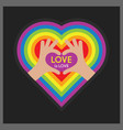 abstract heart symbol hands and love is love words vector image vector image