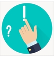 Advice icon Businessman hand with pointing finger vector image