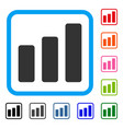 bar chart increase framed icon vector image vector image