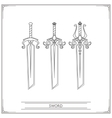 Bevelled Fantasy Sword Lineart vector image vector image