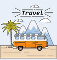 bus summer trip on summer vector image