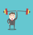 businessman holding barbell vector image