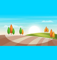 cartoon landscape tree sun field vector image