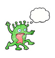 cartoon weird little alien with thought bubble vector image