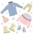 cartoon winter warm clothes signs icon set vector image