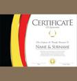certificate or diploma belgium flag design vector image vector image