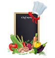 Chef menu board and vegetables vector image vector image