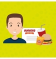 child cartoon man fast food vector image vector image