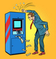damaged atm and angry man vector image