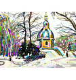digital painting of winter landscape vector image vector image