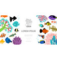 flat aquarium elements template vector image vector image