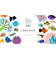 flat aquarium elements template vector image vector image