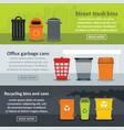 garbage storage banner horizontal set flat style vector image vector image