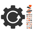 gear rotation icon with valentine bonus vector image vector image