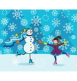 Girl with snowman skating vector image