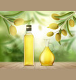 glass bottle and jug with olive oil vector image vector image