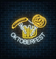 glowing neon sign of oktoberfest festival with vector image vector image