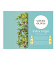 greek olive oil bottles with black and green vector image vector image