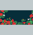 horizontal banner with nasturtium flowers and vector image