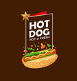 hot dog poster promote design on brown vector image