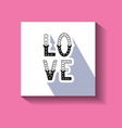love hand written word with decor elements on card vector image vector image
