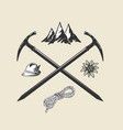 mountain hiking outdoor vintage icon flat web sign vector image vector image