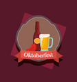oktoberfest label with beer jar and sausage vector image