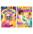peace music posters with hippie sign and guitar vector image
