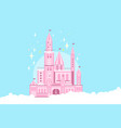 pink princess castle in white clouds fairy tale vector image vector image